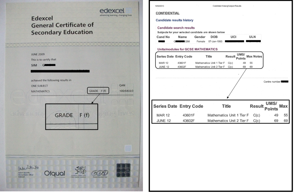 gcse certificate template - gcse results sheet layout